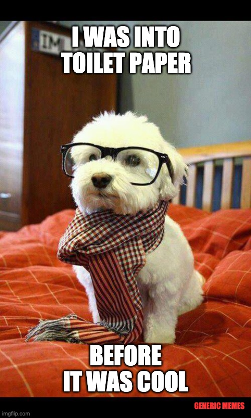 Hipster Covid Dog |  I WAS INTO TOILET PAPER; BEFORE IT WAS COOL; GENERIC MEMES | image tagged in memes,intelligent dog,coronavirus,toilet paper | made w/ Imgflip meme maker