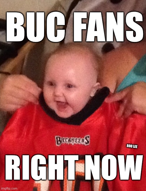 Tom Brady |  BUC FANS; RIGHT NOW; ROD LEE | image tagged in tom brady,buccaneers,babies | made w/ Imgflip meme maker