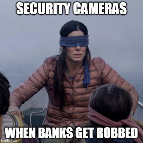 i think im not right | SECURITY CAMERAS WHEN BANKS GET ROBBED | image tagged in memes,bird box,funny | made w/ Imgflip meme maker