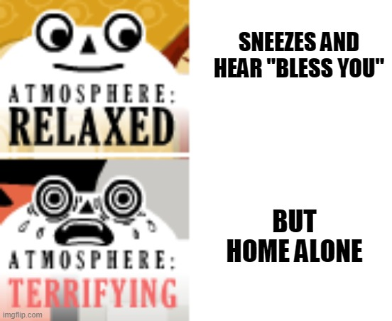 "Sneeze panic | SNEEZES AND HEAR ""BLESS YOU"" BUT HOME ALONE 