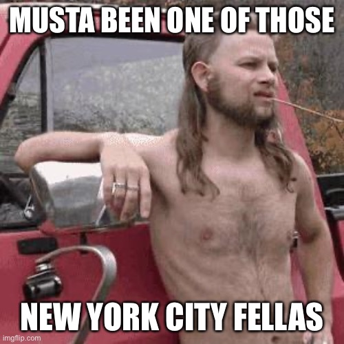 almost redneck | MUSTA BEEN ONE OF THOSE NEW YORK CITY FELLAS | image tagged in almost redneck | made w/ Imgflip meme maker