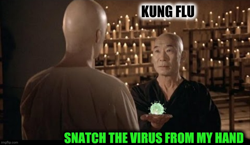 When you can snatch the virus from my hand, Grasshopper, it will be time for you to shelter in place |  KUNG FLU; SNATCH THE VIRUS FROM MY HAND | image tagged in bad photoshop,kung fu,coronavirus,covid-19 | made w/ Imgflip meme maker