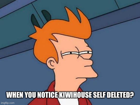 Flip myth. Kiwi was actually able to find news about something that wasn't virus related. Nearly impossible. Broke the internet |  WHEN YOU NOTICE KIWIHOUSE SELF DELETED? | image tagged in memes,futurama fry | made w/ Imgflip meme maker