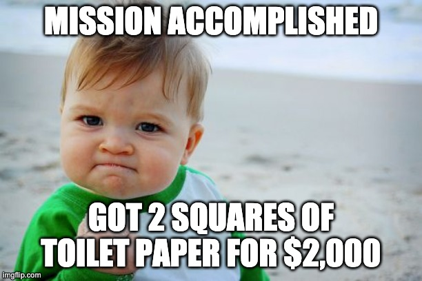 Success Kid Original Meme | MISSION ACCOMPLISHED GOT 2 SQUARES OF TOILET PAPER FOR $2,000 | image tagged in memes,success kid original | made w/ Imgflip meme maker