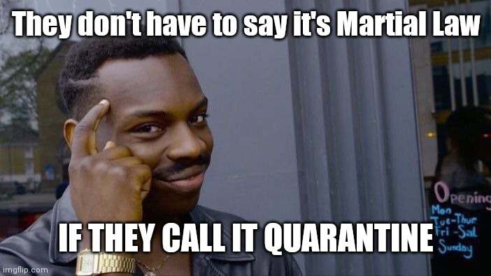 Wake up | They don't have to say it's Martial Law IF THEY CALL IT QUARANTINE | image tagged in memes,roll safe think about it,liar liar,wake up,nwo | made w/ Imgflip meme maker