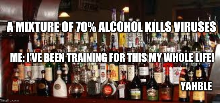 A MIXTURE OF 70% ALCOHOL KILLS VIRUSES YAHBLE ME: I'VE BEEN TRAINING FOR THIS MY WHOLE LIFE! | image tagged in booze meme | made w/ Imgflip meme maker