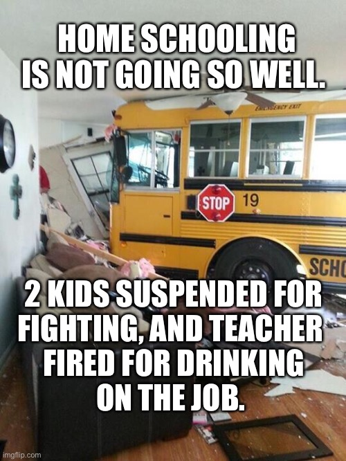 School |  HOME SCHOOLING IS NOT GOING SO WELL. 2 KIDS SUSPENDED FOR FIGHTING, AND TEACHER  FIRED FOR DRINKING ON THE JOB. | image tagged in school | made w/ Imgflip meme maker