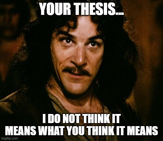 You keep using that word | YOUR THESIS... I DO NOT THINK IT MEANS WHAT YOU THINK IT MEANS | image tagged in you keep using that word | made w/ Imgflip meme maker