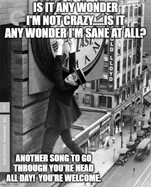 IS IT ANY WONDER I'M NOT CRAZY.....IS IT ANY WONDER I'M SANE AT ALL? ANOTHER SONG TO GO THROUGH YOU'RE HEAD ALL DAY!  YOU'RE WELCOME. | image tagged in too much time on my hands | made w/ Imgflip meme maker