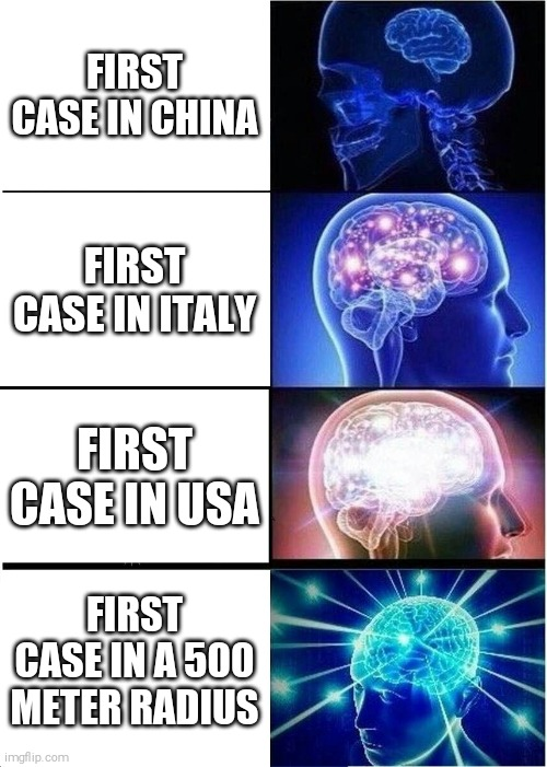 Phases Of Coronavirus Panic | FIRST CASE IN CHINA FIRST CASE IN ITALY FIRST CASE IN USA FIRST CASE IN A 500 METER RADIUS | image tagged in memes,expanding brain | made w/ Imgflip meme maker