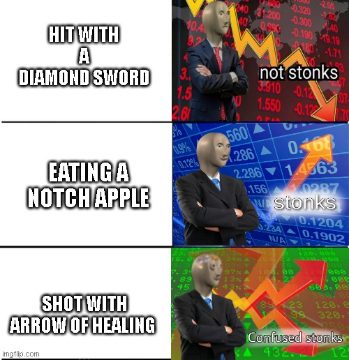 3-tier Minecraft | HIT WITH A DIAMOND SWORD EATING A NOTCH APPLE SHOT WITH ARROW OF HEALING | image tagged in stonks,minecraft | made w/ Imgflip meme maker