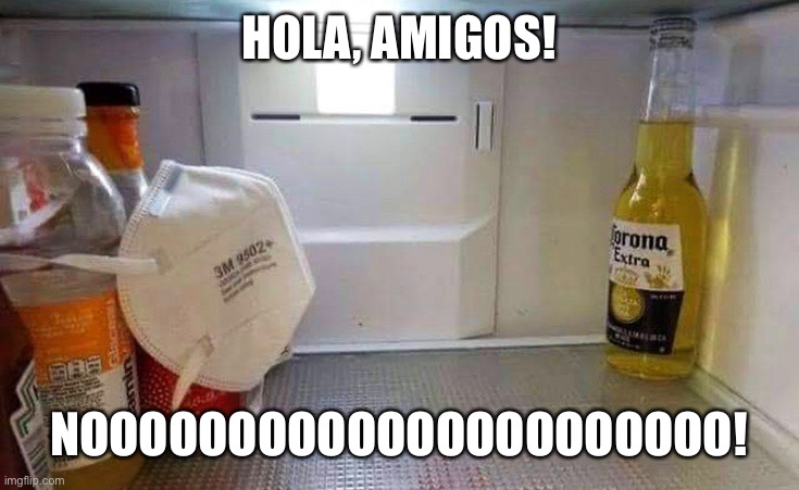 Stay away! | HOLA, AMIGOS! NOOOOOOOOOOOOOOOOOOOOOO! | image tagged in corona,coronavirus,fridge | made w/ Imgflip meme maker