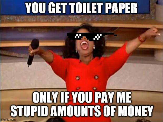 Oprah You Get A Meme | YOU GET TOILET PAPER ONLY IF YOU PAY ME STUPID AMOUNTS OF MONEY | image tagged in memes,oprah you get a | made w/ Imgflip meme maker