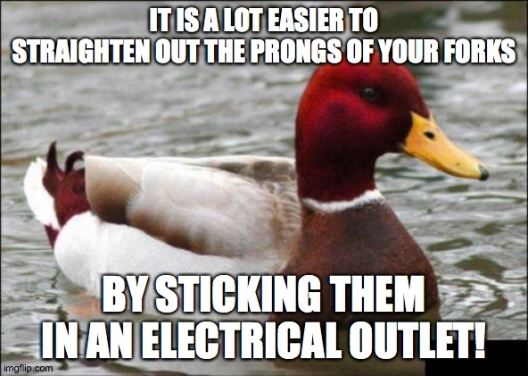 Easy life hack (that could kill you) |  IT IS A LOT EASIER TO STRAIGHTEN OUT THE PRONGS OF YOUR FORKS; BY STICKING THEM IN AN ELECTRICAL OUTLET! | image tagged in memes,malicious advice mallard,fork,life hack,electricity | made w/ Imgflip meme maker