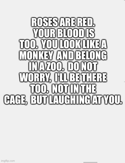 Ok |  ROSES ARE RED.  YOUR BLOOD IS TOO.  YOU LOOK LIKE A MONKEY  AND BELONG IN A ZOO.  DO NOT WORRY,  I'LL BE THERE TOO.  NOT IN THE CAGE,  BUT LAUGHING AT YOU. | image tagged in try me asshole,boom | made w/ Imgflip meme maker