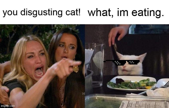 Woman Yelling At Cat Meme | you disgusting cat! what, im eating. | image tagged in memes,woman yelling at cat | made w/ Imgflip meme maker