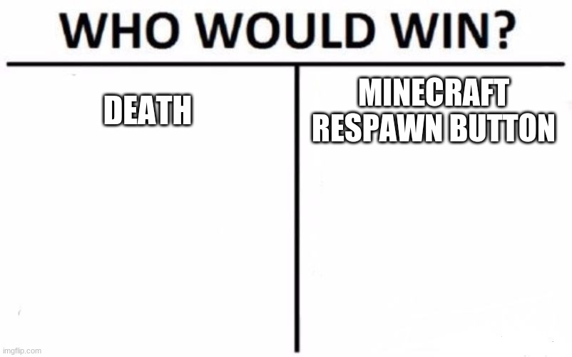 Who Would Win? Meme | DEATH MINECRAFT RESPAWN BUTTON | image tagged in memes,who would win | made w/ Imgflip meme maker