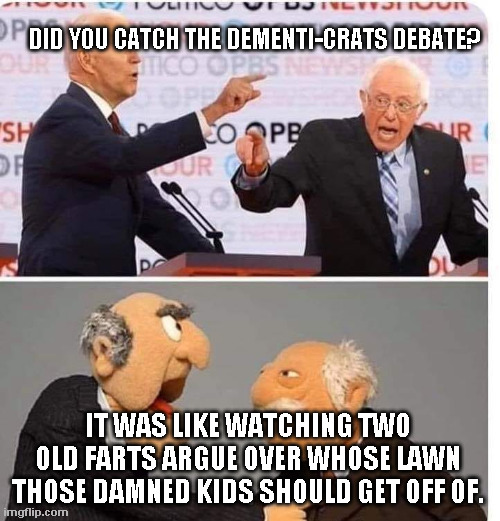 Dementia-crat Debate |  DID YOU CATCH THE DEMENTI-CRATS DEBATE? IT WAS LIKE WATCHING TWO OLD FARTS ARGUE OVER WHOSE LAWN THOSE DAMNED KIDS SHOULD GET OFF OF. | image tagged in biden,sanders | made w/ Imgflip meme maker