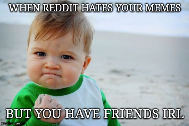 Success Kid Original Meme | WHEN REDDIT HATES YOUR MEMES BUT YOU HAVE FRIENDS IRL | image tagged in memes,success kid original | made w/ Imgflip meme maker