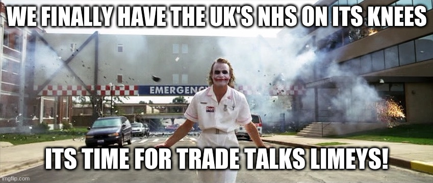 Joker hospital  | WE FINALLY HAVE THE UK'S NHS ON ITS KNEES ITS TIME FOR TRADE TALKS LIMEYS! | image tagged in joker hospital | made w/ Imgflip meme maker