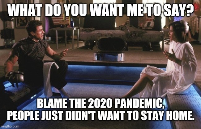 Demolition Man | WHAT DO YOU WANT ME TO SAY? BLAME THE 2020 PANDEMIC, PEOPLE JUST DIDN'T WANT TO STAY HOME. | image tagged in demolition man | made w/ Imgflip meme maker