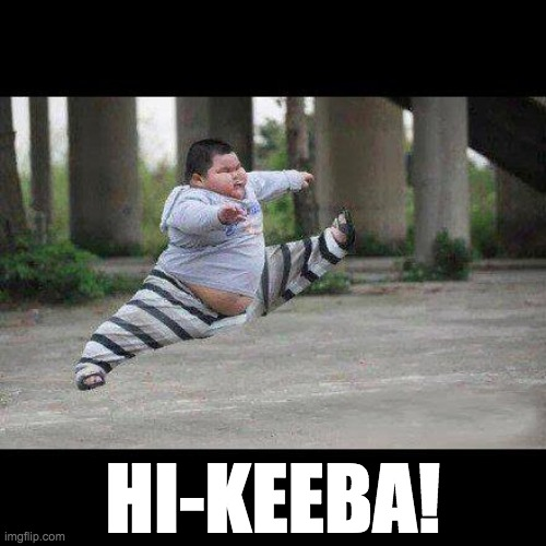 Fat kid jump kick |  HI-KEEBA! | image tagged in fat kid jump kick,hi-keeba,mst3k | made w/ Imgflip meme maker