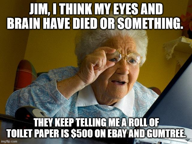 Grandma Finds The Internet Meme | JIM, I THINK MY EYES AND BRAIN HAVE DIED OR SOMETHING. THEY KEEP TELLING ME A ROLL OF TOILET PAPER IS $500 ON EBAY AND GUMTREE. | image tagged in memes,grandma finds the internet | made w/ Imgflip meme maker