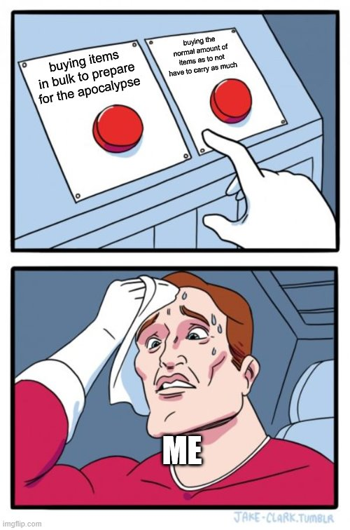 Two Buttons Meme | buying items in bulk to prepare for the apocalypse buying the normal amount of items as to not have to carry as much ME | image tagged in memes,two buttons | made w/ Imgflip meme maker