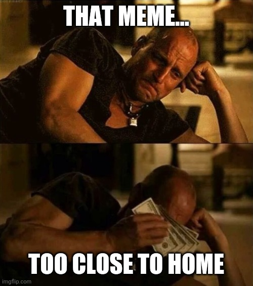 Zombieland money tears | THAT MEME... TOO CLOSE TO HOME | image tagged in zombieland money tears | made w/ Imgflip meme maker