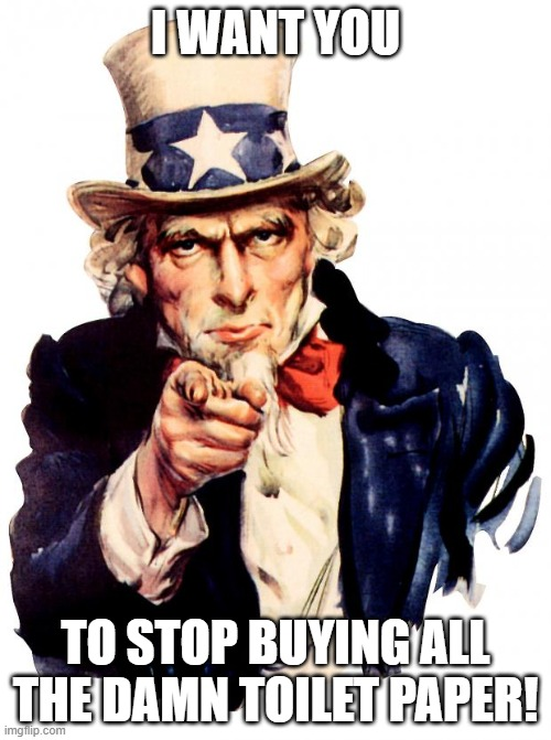 Uncle Sam |  I WANT YOU; TO STOP BUYING ALL THE DAMN TOILET PAPER! | image tagged in memes,uncle sam | made w/ Imgflip meme maker