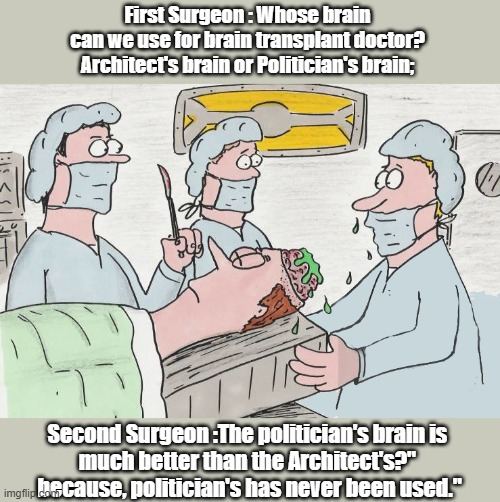 Brain transplant | First Surgeon : Whose brain  can we use for brain transplant doctor?  Architect's brain or Politician's brain; Second Surgeon :The politicia | image tagged in politics | made w/ Imgflip meme maker