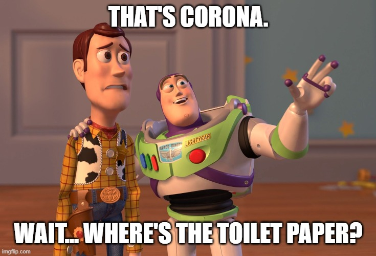 X, X Everywhere Meme | THAT'S CORONA. WAIT... WHERE'S THE TOILET PAPER? | image tagged in memes,x x everywhere | made w/ Imgflip meme maker