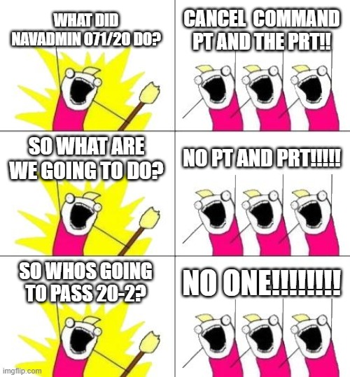 What Do We Want 3 | WHAT DID NAVADMIN 071/20 DO? CANCEL  COMMAND PT AND THE PRT!! SO WHAT ARE WE GOING TO DO? NO PT AND PRT!!!!! SO WHOS GOING TO PASS 20-2? NO  | image tagged in memes,what do we want 3,navy,us navy,fitness | made w/ Imgflip meme maker