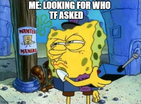 ME: LOOKING FOR WHO          TF ASKED | image tagged in memes | made w/ Imgflip meme maker