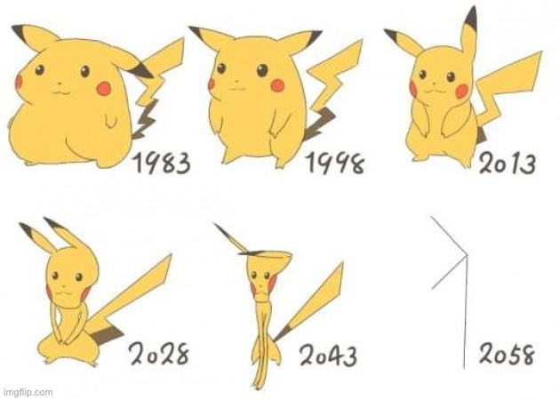 I swear to god Pikachu gets slimmer every anime | made w/ Imgflip meme maker
