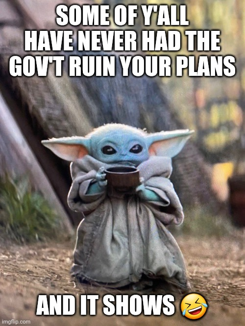 BABY YODA TEA | SOME OF Y'ALL HAVE NEVER HAD THE GOV'T RUIN YOUR PLANS AND IT SHOWS ? | image tagged in baby yoda tea | made w/ Imgflip meme maker
