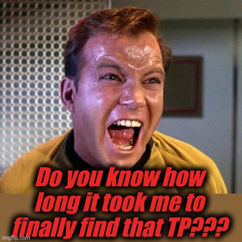 Captain Kirk Screaming | Do you know how long it took me to finally find that TP??? | image tagged in captain kirk screaming | made w/ Imgflip meme maker
