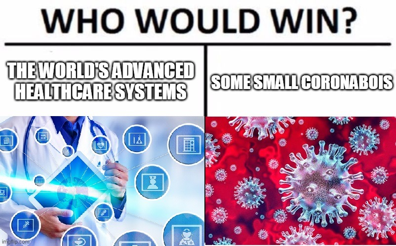 Who would win? |  SOME SMALL CORONABOIS; THE WORLD'S ADVANCED HEALTHCARE SYSTEMS | image tagged in coronavirus,corona,corona virus,who would win,healthcare,health | made w/ Imgflip meme maker