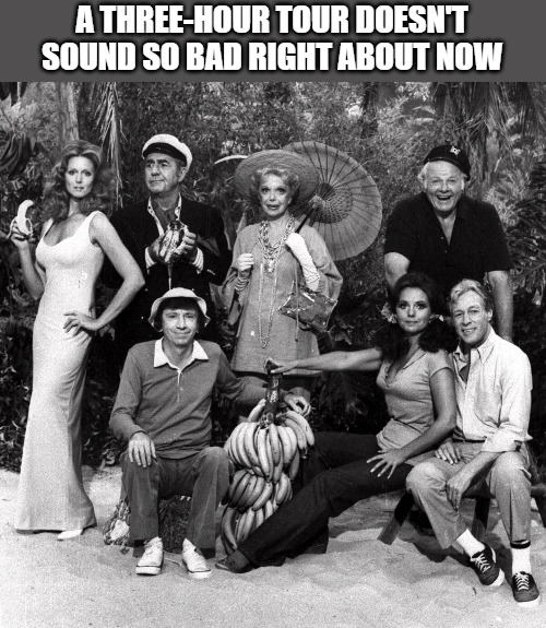 Three Hour Tour | A THREE-HOUR TOUR DOESN'T SOUND SO BAD RIGHT ABOUT NOW | image tagged in gilligan's island,coronavirus | made w/ Imgflip meme maker