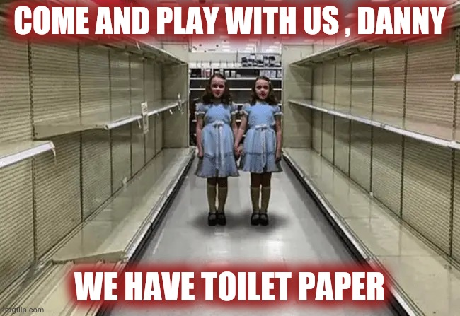 Living in a Horror Movie |  COME AND PLAY WITH US , DANNY; WE HAVE TOILET PAPER | image tagged in the shining,creepy face,girls laughing,johnny johnny,shopping,help me | made w/ Imgflip meme maker