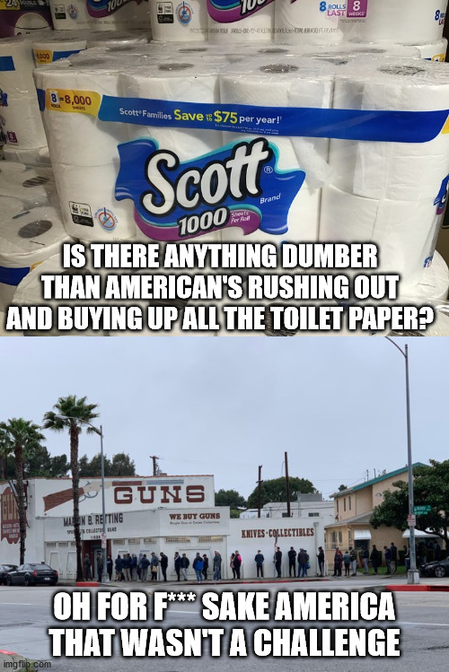 forget the virus watch out for bullets | IS THERE ANYTHING DUMBER THAN AMERICAN'S RUSHING OUT AND BUYING UP ALL THE TOILET PAPER? OH FOR F*** SAKE AMERICA THAT WASN'T A CHALLENGE | image tagged in toilet paper,guns,america,special kind of stupid | made w/ Imgflip meme maker