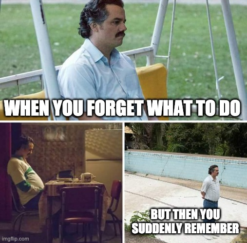 Sad Pablo Escobar Meme | WHEN YOU FORGET WHAT TO DO BUT THEN YOU SUDDENLY REMEMBER | image tagged in memes,sad pablo escobar | made w/ Imgflip meme maker