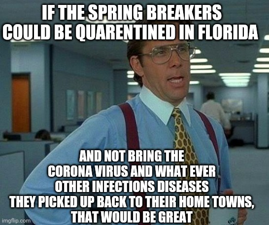 Spring Break Forever | IF THE SPRING BREAKERS COULD BE QUARENTINED IN FLORIDA AND NOT BRING THE CORONA VIRUS AND WHAT EVER OTHER INFECTIONS DISEASES THEY PICKED UP | image tagged in memes,that would be great,spring break,covid-19,coronavirus | made w/ Imgflip meme maker