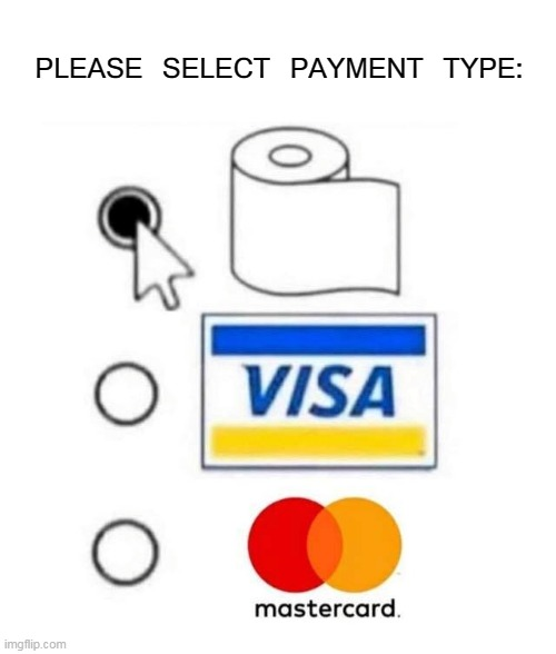 Choose Wisely | PLEASE SELECT PAYMENT TYPE: | image tagged in memes,toilet paper,coronavirus,corona,tp,credit card | made w/ Imgflip meme maker