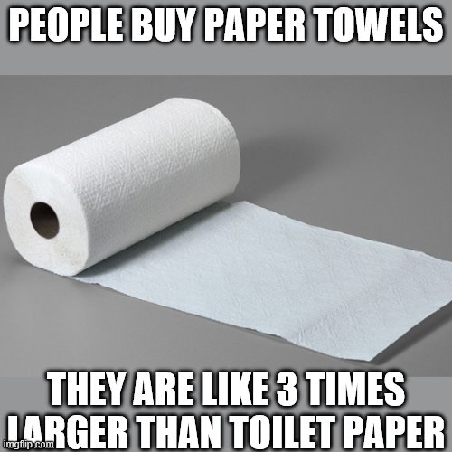 just cut  them up into pieces | PEOPLE BUY PAPER TOWELS THEY ARE LIKE 3 TIMES LARGER THAN TOILET PAPER | image tagged in paper towel | made w/ Imgflip meme maker