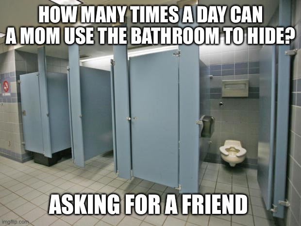Bathroom stall | HOW MANY TIMES A DAY CAN A MOM USE THE BATHROOM TO HIDE? ASKING FOR A FRIEND | image tagged in bathroom stall | made w/ Imgflip meme maker