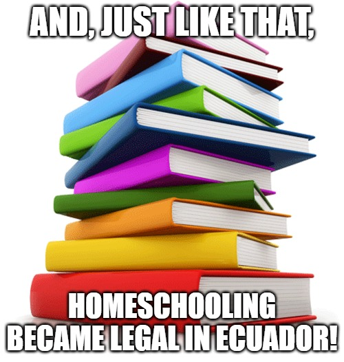 AND, JUST LIKE THAT, HOMESCHOOLING BECAME LEGAL IN ECUADOR! | image tagged in homeschool ecuador | made w/ Imgflip meme maker