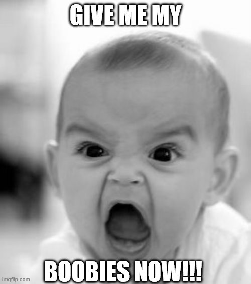 Angry Baby Meme | GIVE ME MY BOOBIES NOW!!! | image tagged in memes,angry baby | made w/ Imgflip meme maker