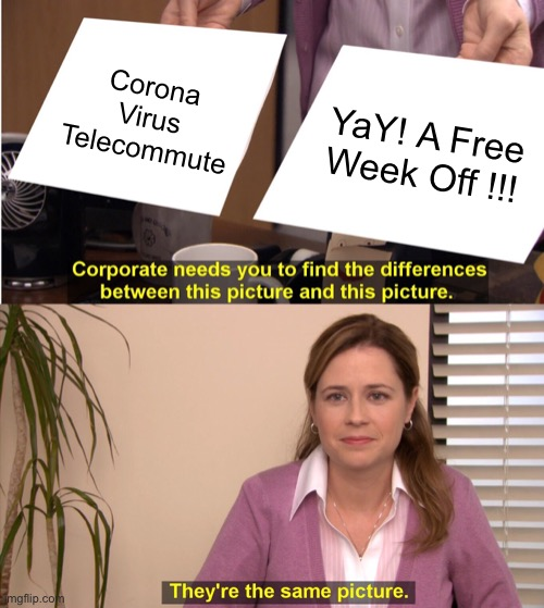 They're The Same Picture Meme | Corona Virus Telecommute YaY! A Free Week Off !!! | image tagged in memes,they're the same picture | made w/ Imgflip meme maker