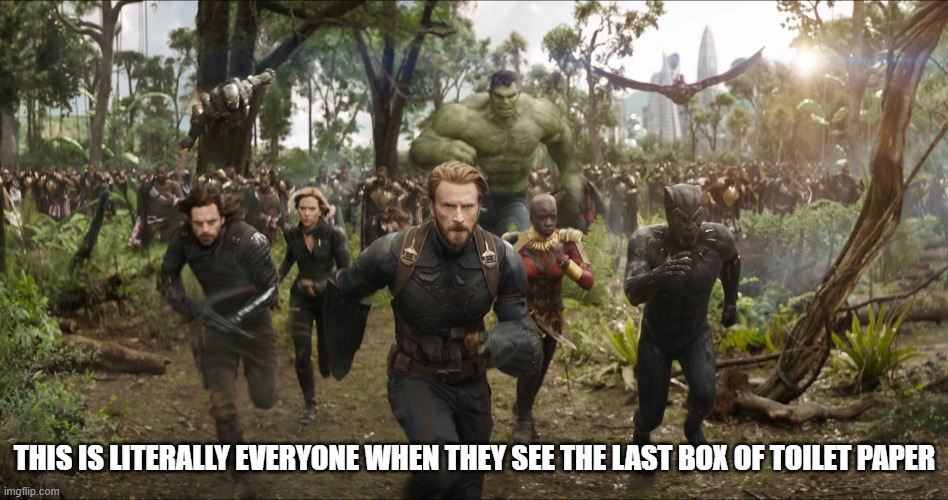 coronavirus meme | THIS IS LITERALLY EVERYONE WHEN THEY SEE THE LAST BOX OF TOILET PAPER | image tagged in funny,memes,avengers,coronavirus,toilet paper,chargeeee | made w/ Imgflip meme maker